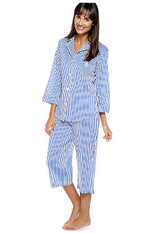 Lauren Ralph Lauren Striped Notch Collar Pajama Set