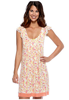 Ellen Tracy Short Sleeve Printed Chemise