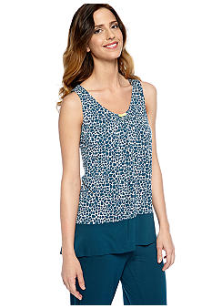 Ellen Tracy Sleeveless Printed Sleep Tank