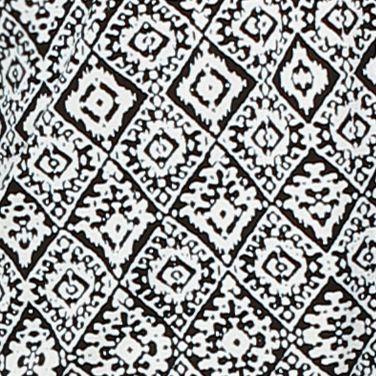 Women: Designer Sale: Black / Ivory Ellen Tracy Printed Mesh Trim Top