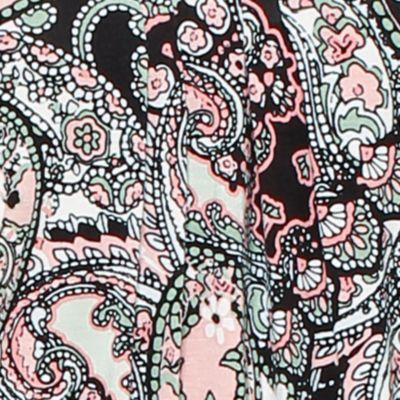 Ellen Tracy Women Sale: Ivory Multi Ellen Tracy Printed Mesh Trim Top