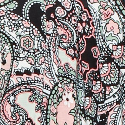 Women: Designer Sale: Ivory Multi Ellen Tracy Printed Mesh Trim Top