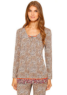 Ellen Tracy Plus Size Long Sleeve Dot Top