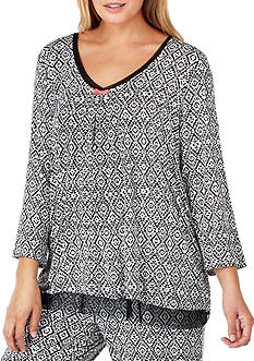 Ellen Tracy Plus Size Mesh Trim Printed Top