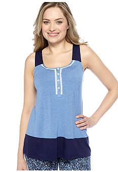 DKNY Lace Trimmed Colorblock Tank