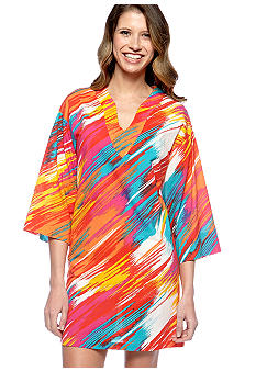 N Natori Multicolor Diagonal Strokes Striped Tunic