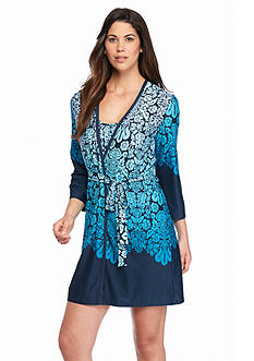 New Directions Intimates Ombre Border Wrap Robe