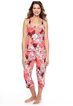 ND Intimates Damask Scroll Print Capri Pajama Set