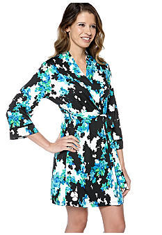ND Intimates Floral Print Short Wrap Robe