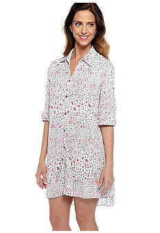 Anne Klein Crinkle Animal Print Sleep Shirt