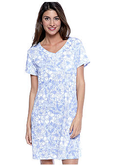 Karen Neuburger Short Sleeve Henley Nightshirt