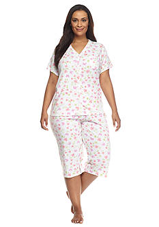 Karen Neuburger Plus Size Floral Cardigan Capri Pajama Set
