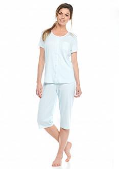 Karen Neuburger Floral Cardigan Capri Pajama Set