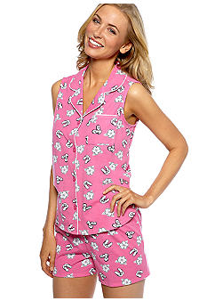 Character Sleeveless Notch Collar Shorty Pajama Set
