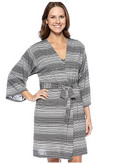 Jones New York Striped Knit Short Wrap Robe