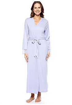 Jones New York Lace Trimmed Solid Long Robe