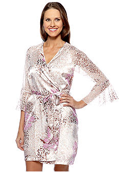 Jones New York Animal Print Short Wrap Robe