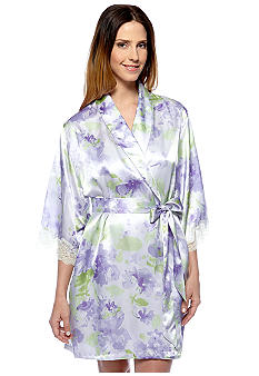 Jones New York Floral Print Short Wrap Robe