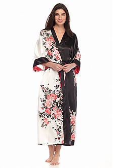 Jones New York Long Satin Floral Wrap Robe