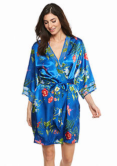 Jones New York Botanical Garden Satin Wrap Robe