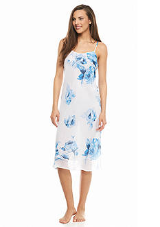 Jones New York Blue Roses Chiffon Gown