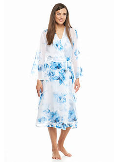 Jones New York Blue Roses Chiffon Robe