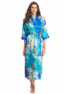 Jones New York Asian Floral Satin Robe