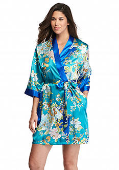 Jones New York Asian Garden Satin Wrap Robe