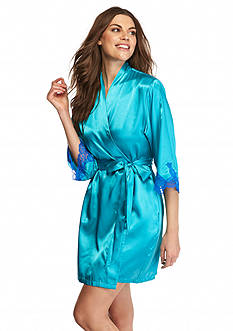 Jones New York Cobalt Lace Trim Wrap Robe