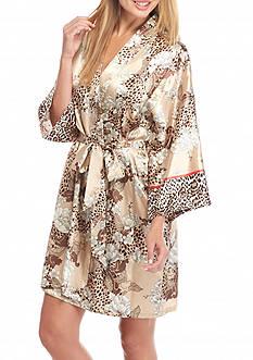Jones New York Garden Print Satin Wrap Robe