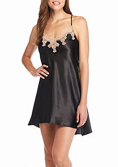 Jones New York Solid Lace Trim Satin Chemise