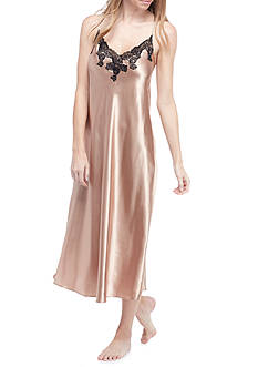 Jones New York Solid Lace Trim Satin Gown