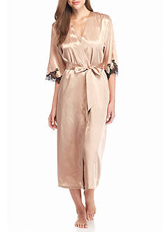 Jones New York Solid Lace Trim Satin Robe
