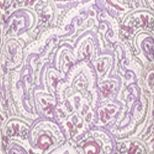Nightgowns for Women: Ivory Purple Aria Printed Long Sleeve Short Gown
