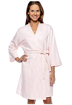 Aria Striped Short Wrap Robe