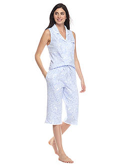 Aria Sleeveless Paisley Clamdigger Pajama Set