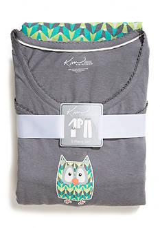 Kim Rogers® Plus Size 3 Piece Chevron Owl Pajama Set