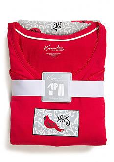 Kim Rogers® Plus Size 3 Piece Cardinal Pajama Set