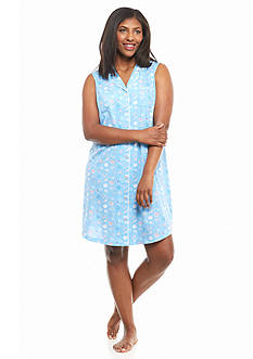 Kim Rogers Plus Size Sleeveless Notch Collar Sleepshirt
