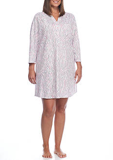 Kim Rogers Plus Size Three Quarter Zebra Sleepshirt