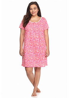 Kim Rogers Plus Size Short Sleeve Wispy Floral Gown