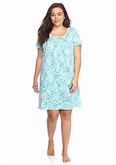 Kim Rogers Plus Size Short Sleeve Aqua Floral Gown