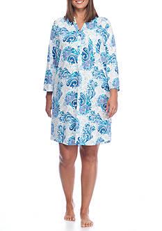 Kim Rogers Plus Size Three Quarter Sleeve Blue Paisley Sleepshirt
