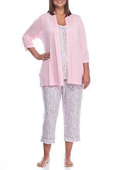 Kim Rogers Plus Size 3-Piece Zebra Pajama Set