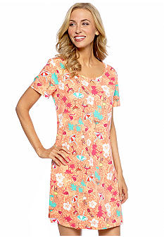 Kim Rogers Beach Print Sleep Shirt with Keyhole