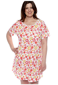 Kim Rogers Plus Size Floral Sleep Shirt