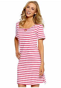 Kim Rogers Pink Stripe Sleep Shirt with Keyhole