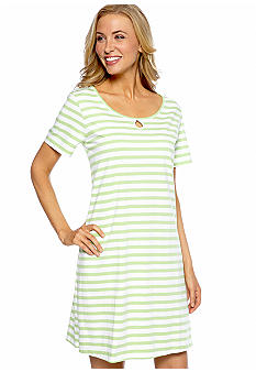 Kim Rogers Lime Stripe Sleep Shirt with Keyhole