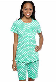 Kim Rogers Green Polka Dot Shorty Pajama Set