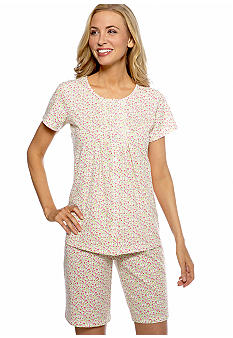 Kim Rogers Pink Ditsy Knit Shorty Pajama Set